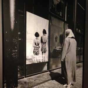 "A shot of Tarik Samarah's photo called ""Amsterdam"" (2004): A mother of Srebrenica outside Anne Frank's house Museum. Seen at the Srebrenica Exhibition in Sarajevo, June 2015."